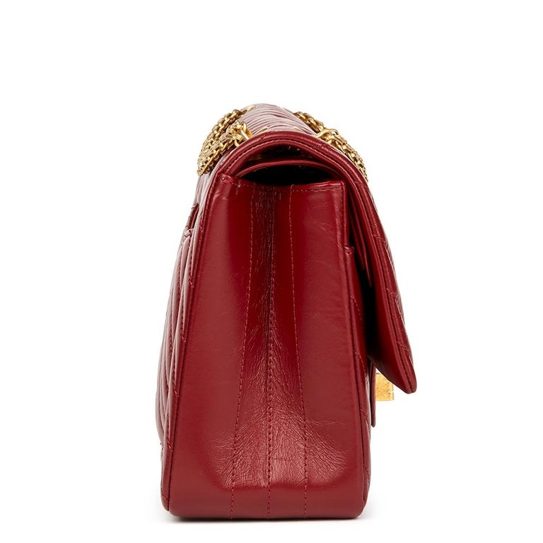 64ad445f2734 CHANEL Dark Red Chevron Quilted Aged Calfskin Leather 2.55 Reissue 226  Double Flap Bag Reference: