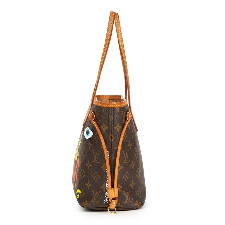 LOUIS VUITTON  X Year Zero London Hand-painted  'Hey Good Lookin' Brown Monogram Coated Canvas Neverfull PM  Reference: HB2210 Serial Number: VI2087 Age (Circa): 2007 Authenticity Details: Date Stamp (Made in France) Gender: Ladies Type: Shoulder,