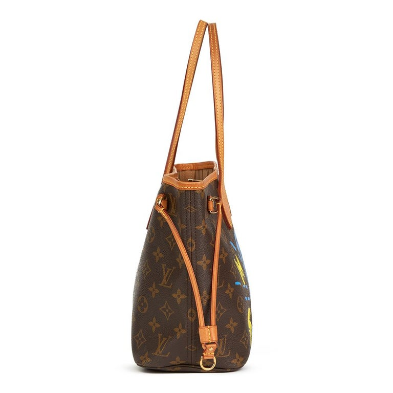 LOUIS VUITTON  X Year Zero London Hand-painted 'Zap Them with Super Love'  Brown Monogram Coated Canvas Neverfull PM  Reference: HB2209 Serial Number: MB2018 Age (Circa): 2008 Authenticity Details: Date Stamp (Made in France) Gender: Ladies Type: