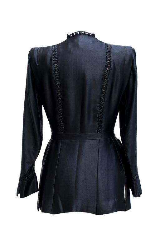 1935 circa Nina Ricci Haute Couture Gorgeous Black Satin Jacket    In Excellent Condition For Sale In Paris, FR