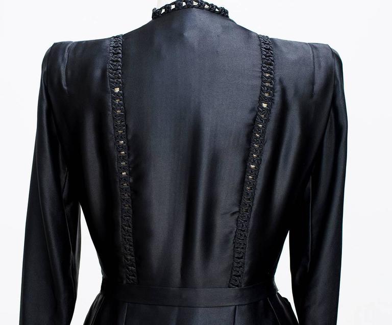 Women's 1935 circa Nina Ricci Haute Couture Gorgeous Black Satin Jacket    For Sale