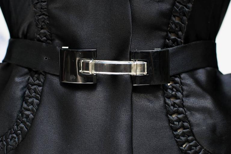 1935 circa Nina Ricci Haute Couture Gorgeous Black Satin Jacket    For Sale 1