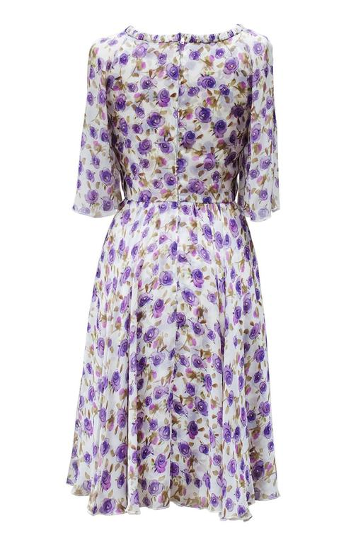 2000's Dolce&Gabbana Purple Flower Printed Summer Dress   2