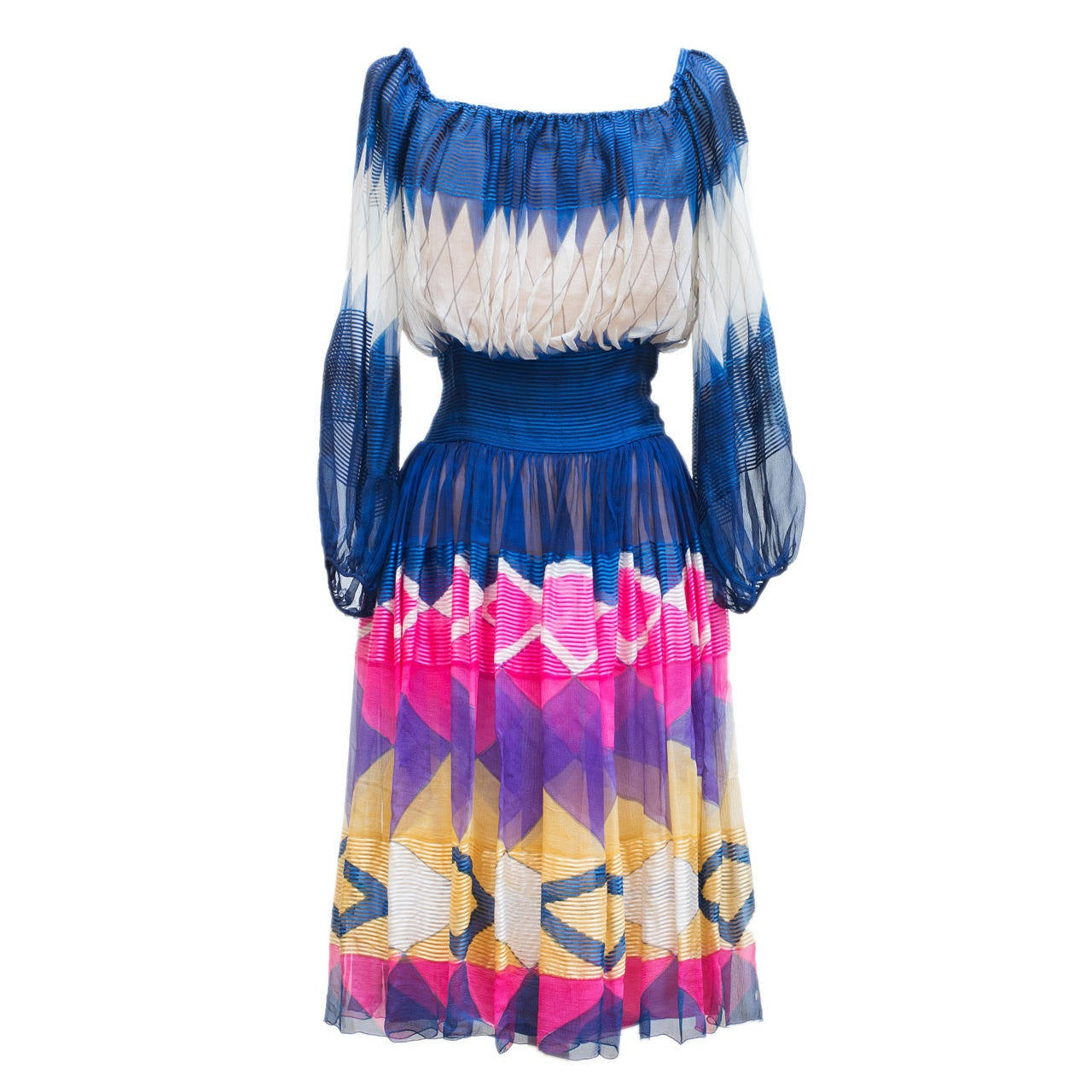 Jean Patou Haute Couture Amazing Multicolor Chiffon Silk Dress