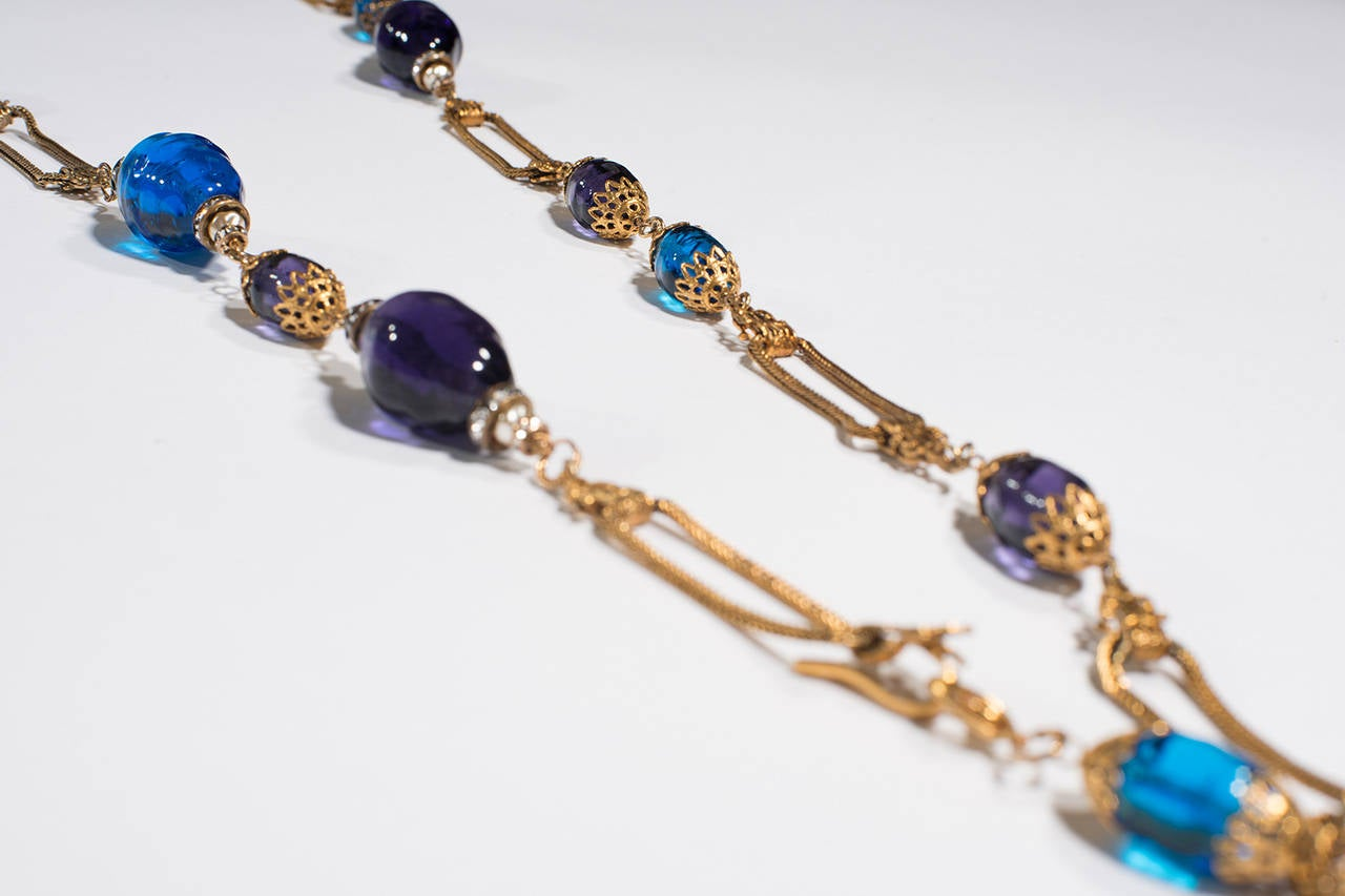 Chanel Vintage  by  Gripoix Long Blue Necklace 1990   : gold brass and glass
