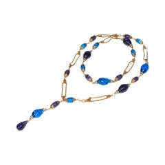Chanel  Vintage   by Gripoix Long  Blue  Glass  Necklace 1990