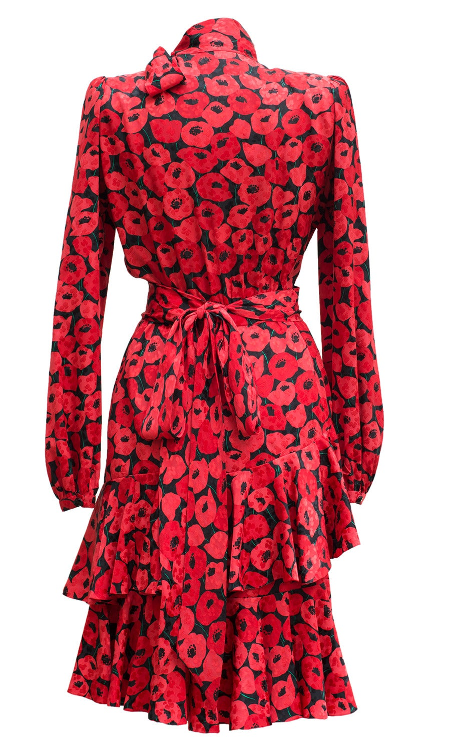 1983 Yves Saint Laurent Couture Stunning Print Black and Red Silk Dress 2