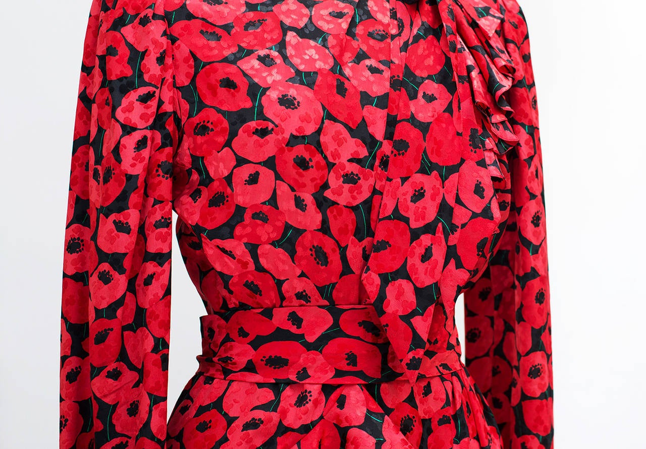 1983 Yves Saint Laurent Couture Stunning Print Black and Red Silk Dress 3