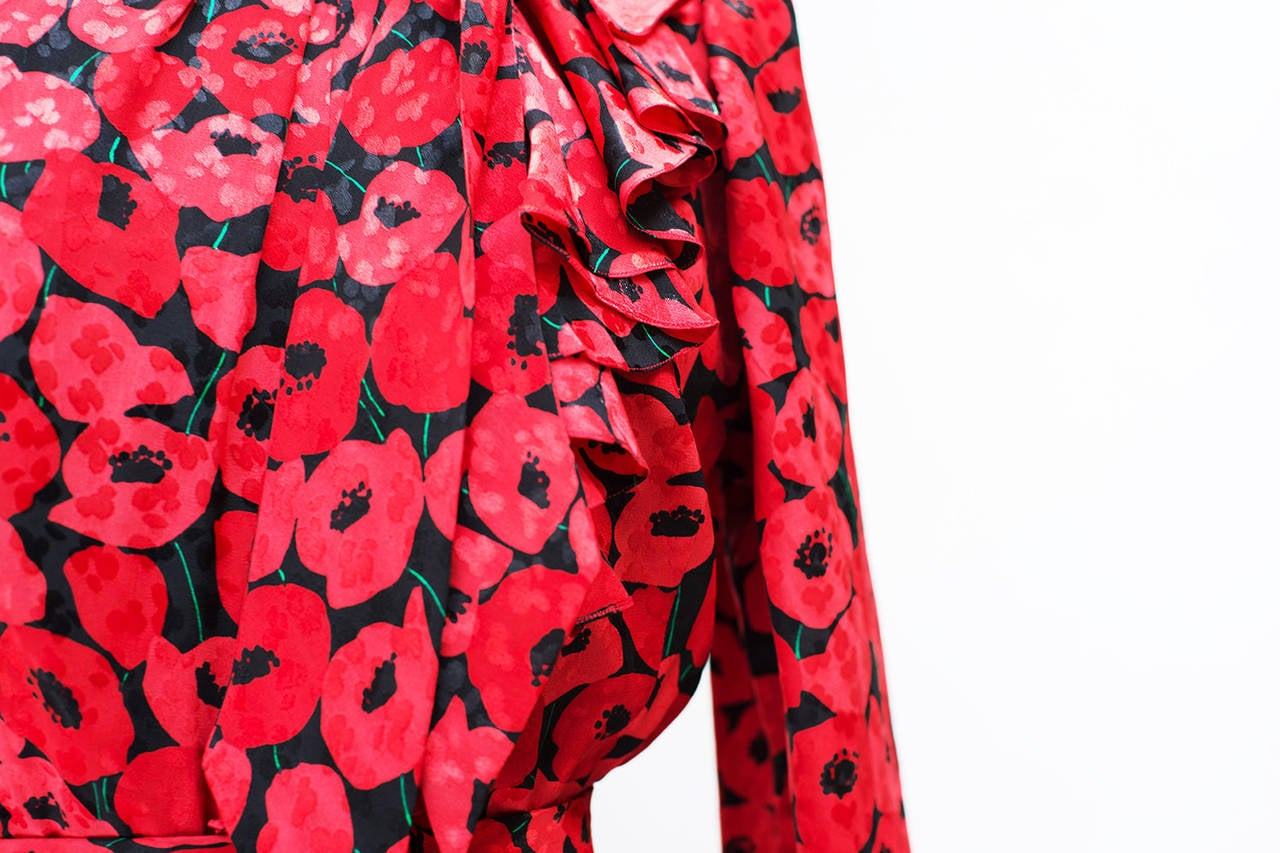 1983 Yves Saint Laurent Couture Stunning Print Black and Red Silk Dress 4