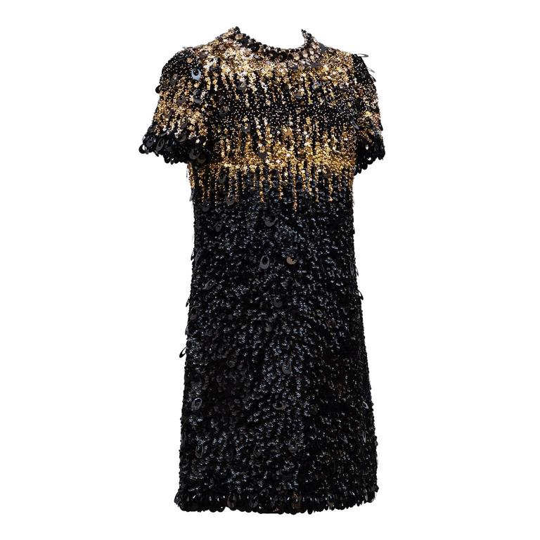 1967/68  Pierre Cardin Amazing Haute Couture Black and Gold Sequins  3