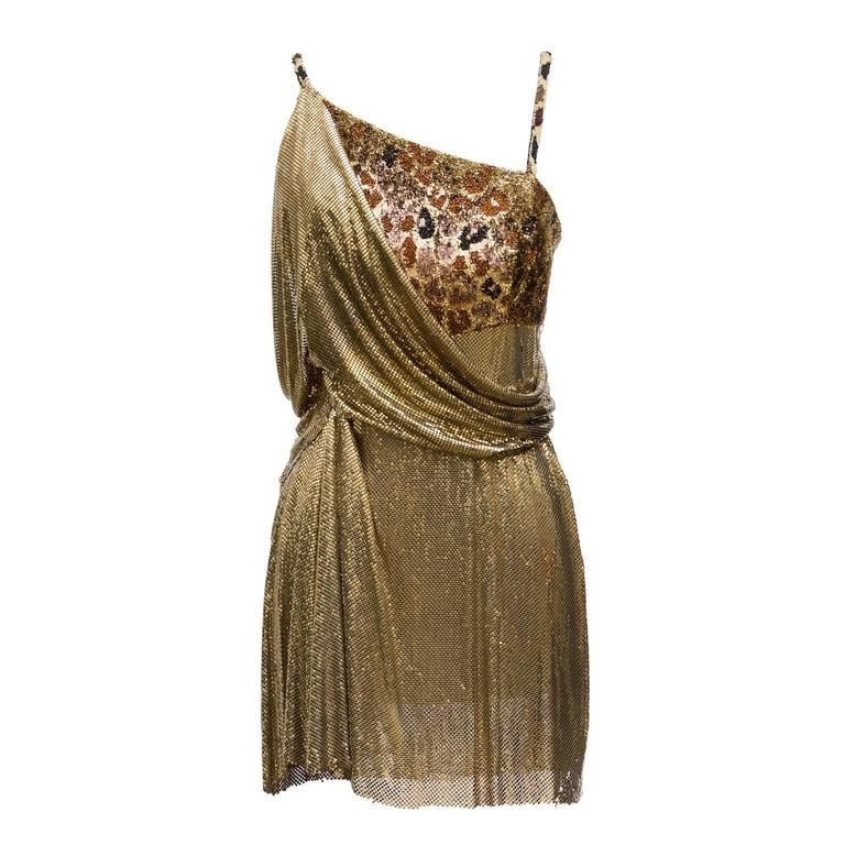 1994 Gianni Versace Haute Couture Stunning Evening Metallic Dress  1