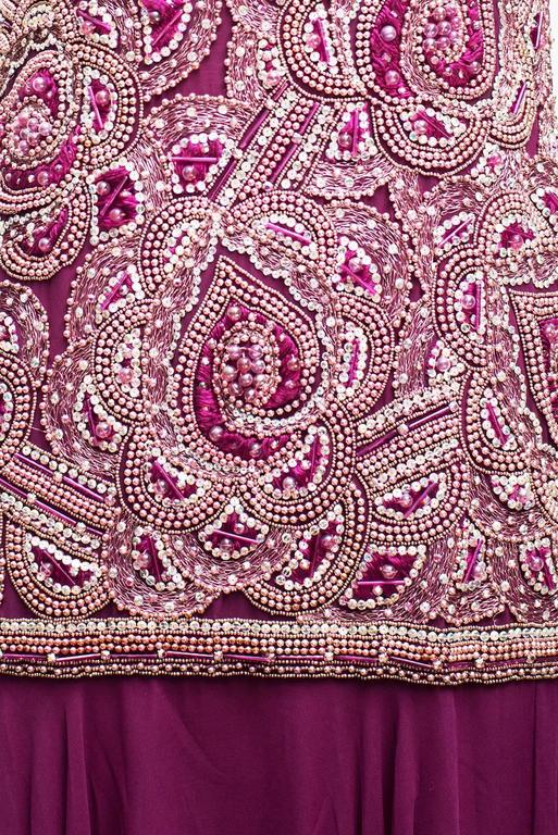 1980/85 Christian Dior Haute Couture Bordeaux Embroidered  Long Tank Dress Divine Long Tank Dress embroidered pink grey purple parma sequins and pearls since shoulder to the Hips and after the dress continue in purple  silk chiffon in a moving