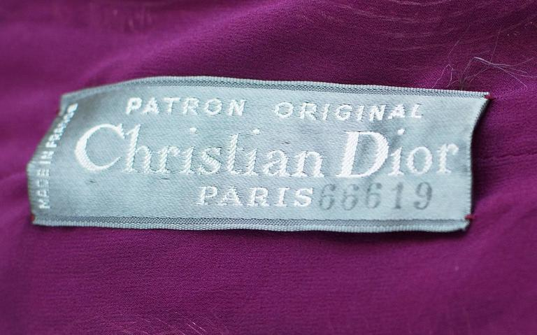 Purple 1980/85 Red Ca Christian Dior Haute Couture Bordeaux Embroidered  Long Tank Dres For Sale