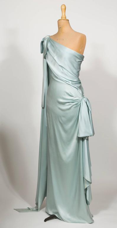 11984 yves saint laurent haute couture silk satin blue