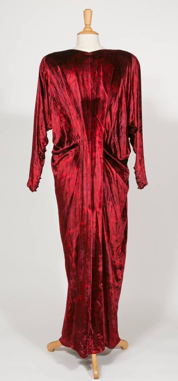 1975 Yves Saint Laurent Haute Couture Iconic  Ruby Silk Velvet  Evening Dress 2