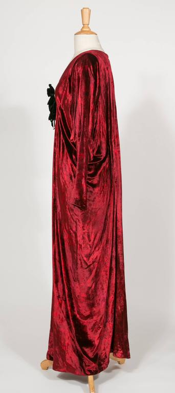 1975 Yves Saint Laurent Haute Couture Iconic  Ruby Silk Velvet  Evening Dress 3