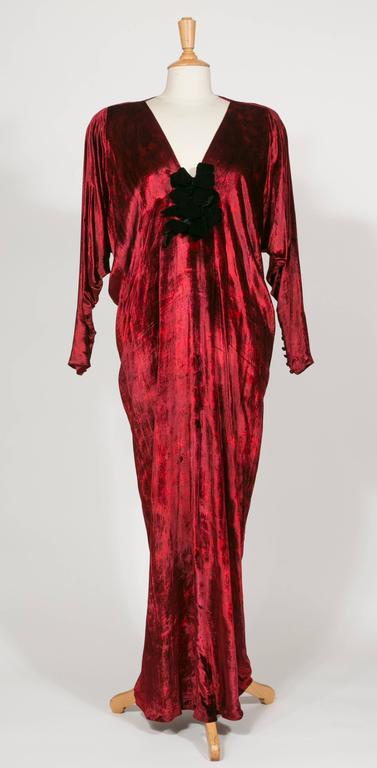 1975 Yves Saint Laurent Haute Couture Iconic  Ruby Silk Velvet  Evening Dress 5