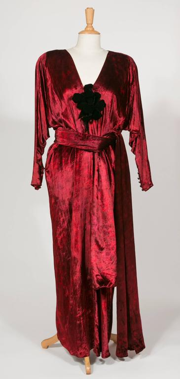 1975 Yves Saint Laurent Haute Couture Iconic  Ruby Silk Velvet  Evening Dress 7
