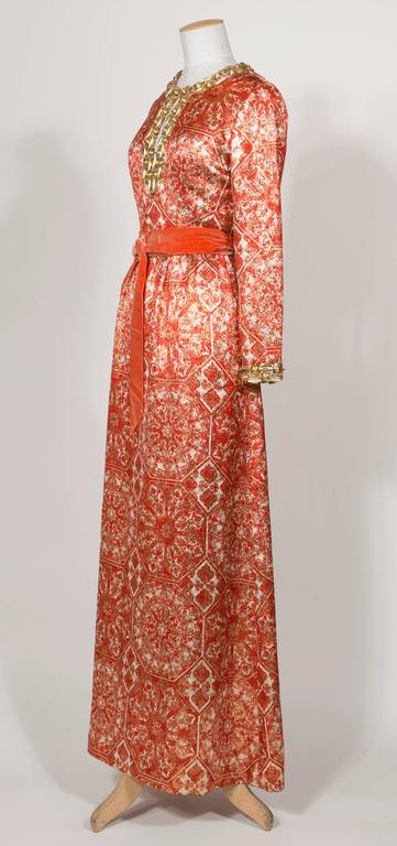 1966/67 Christian Dior Sparkling Broché Orange Dress 2