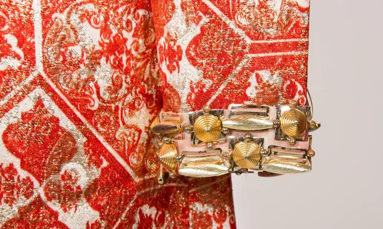 1966/67 Christian Dior Sparkling Broché Orange Dress 3