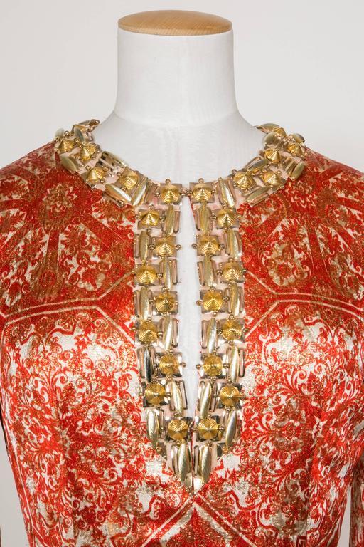 1966/67 Christian Dior Sparkling Broché Orange Dress 4