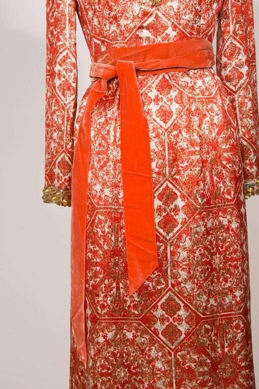 1966/67 Christian Dior Sparkling Broché Orange Dress 5