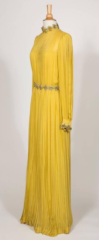 1970 Jean Patou fabulous Long Yellow Pleats Chiffon Dress 2