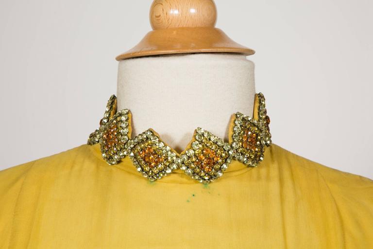 1970 Jean Patou fabulous Long Yellow Pleats Chiffon Dress 5