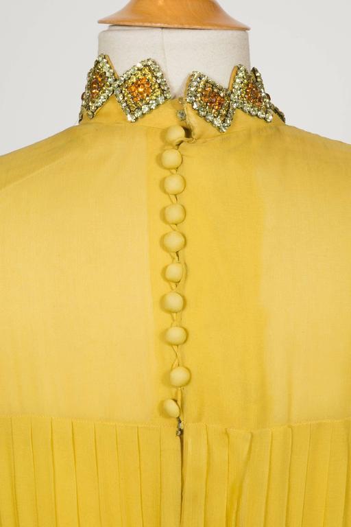 1970 Jean Patou fabulous Long Yellow Pleats Chiffon Dress 6