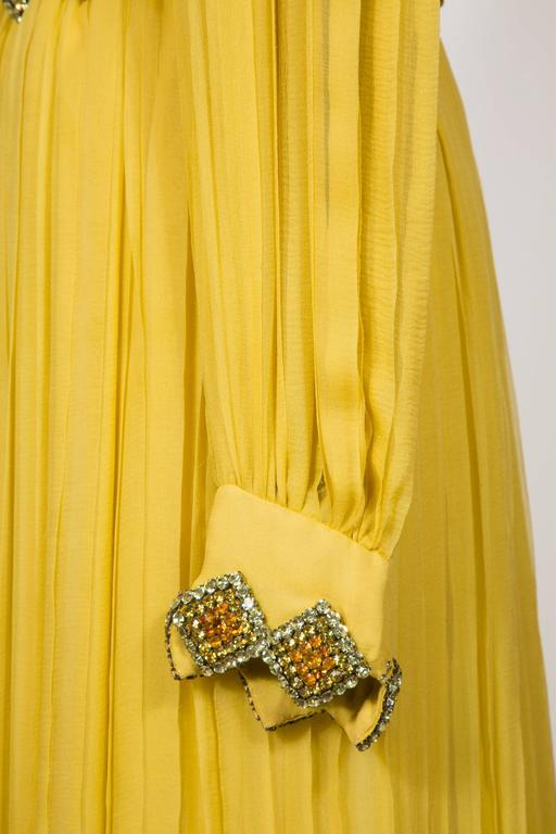 1970 Jean Patou fabulous Long Yellow Pleats Chiffon Dress 7