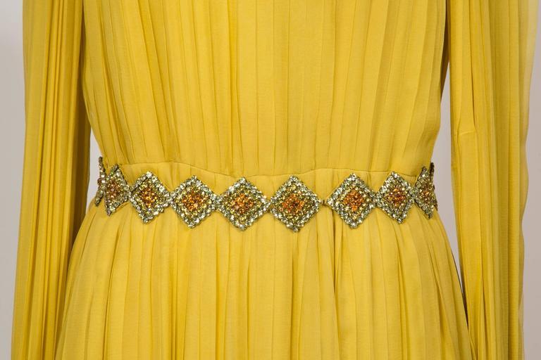 1970 Jean Patou fabulous Long Yellow Pleats Chiffon Dress 8