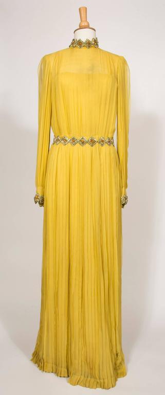1970 Jean Patou fabulous Long Yellow Pleats Chiffon Dress 9