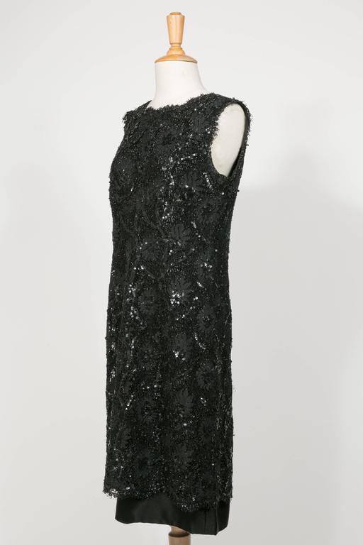 1960 's Balenciaga Haute -Couture Blake Lace Sequins Cocktail Dress 2