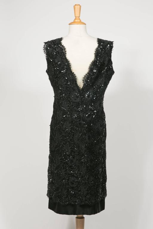 Black 1960 's Balenciaga Haute -Couture Blake Lace Sequins Cocktail Dress For Sale