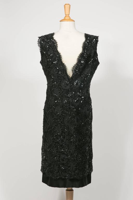 1960 's Balenciaga Haute -Couture Blake Lace Sequins Cocktail Dress 3
