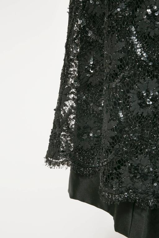 Women's 1960 's Balenciaga Haute -Couture Blake Lace Sequins Cocktail Dress For Sale