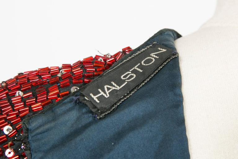 1985/90 Halston Cocktail Red Blu White Embroidered  For Sale 2