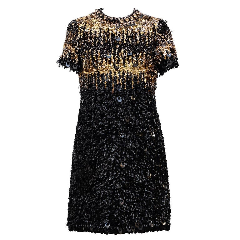 1967/68  Pierre Cardin Amazing Haute Couture Black and Gold Sequins  1