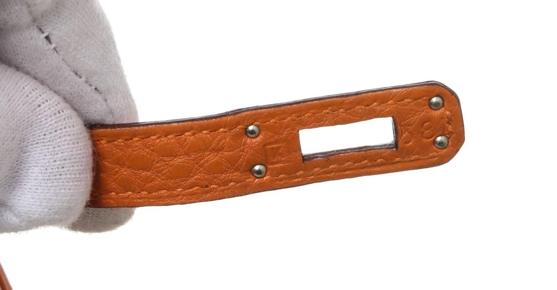 Hermes Orange Birkin 25cm Clemence Leather Handbag PHW at 1stdibs