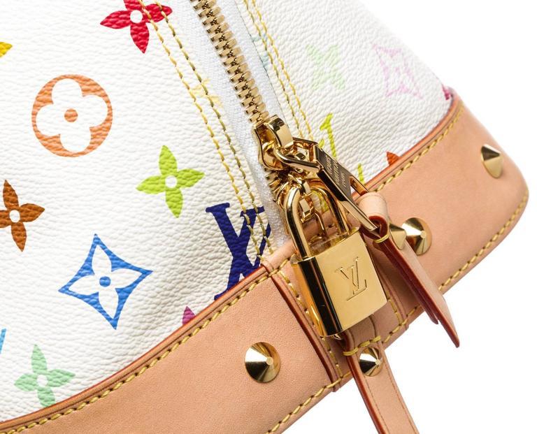 louis vuitton white multicolor alma gm satchel handbag for sale at 1stdibs