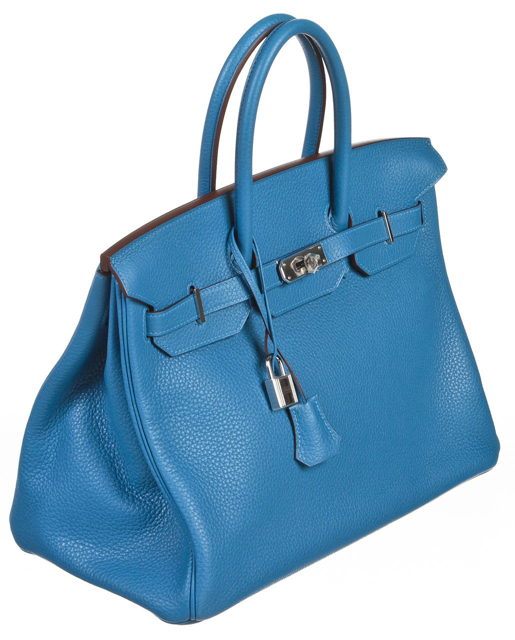 best inexpensive purses - Hermes Mykonos Blue Clemence Leather 35cm Handbag SHW NEW For Sale ...