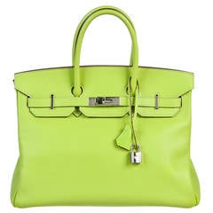 Hermes Kiwi and Lichen Epsom Leather Candy Collection 35cm Birkin Handbag