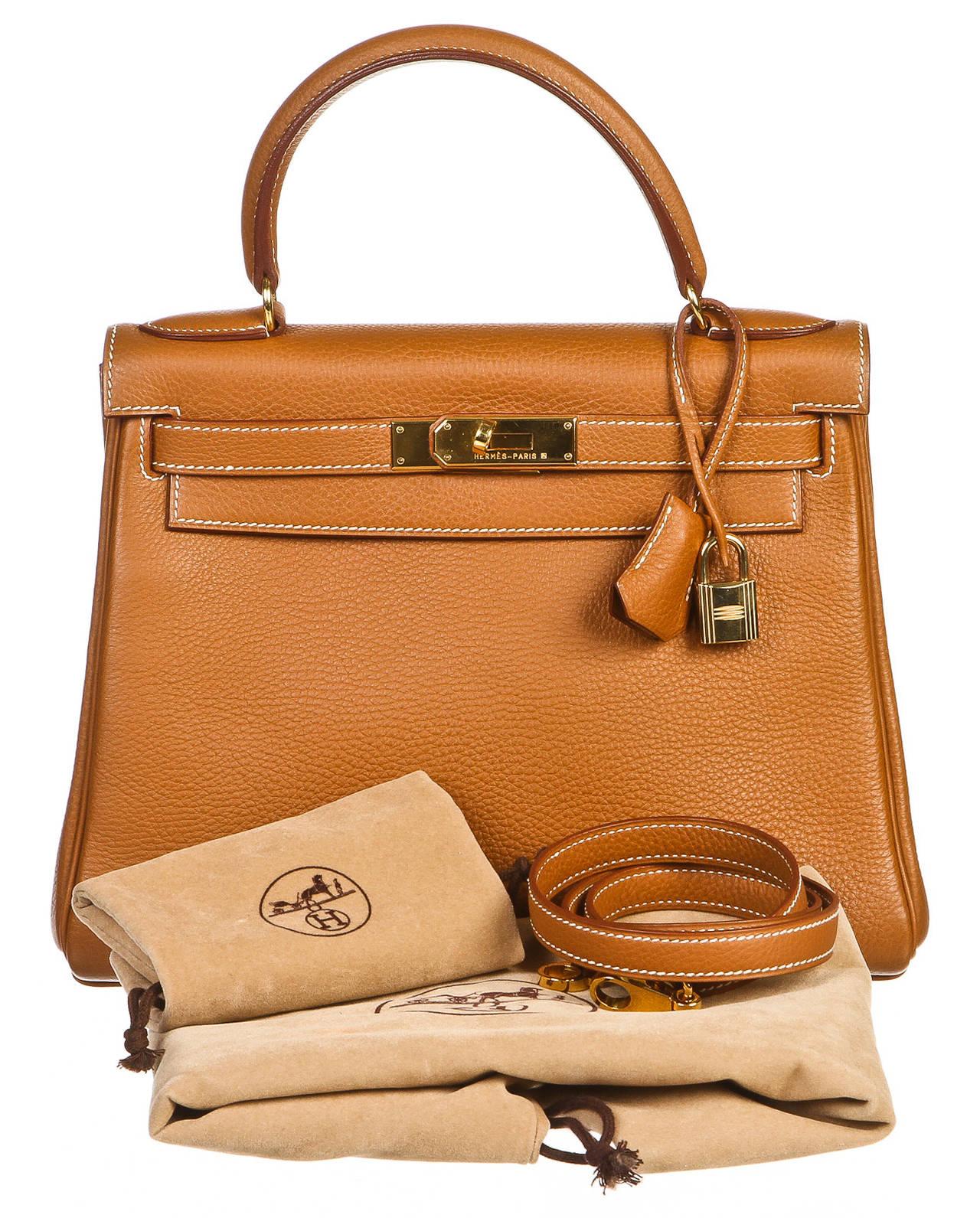 Hermes Gold Clemence Leather 28cm Kelly Retourne Handbag at 1stdibs