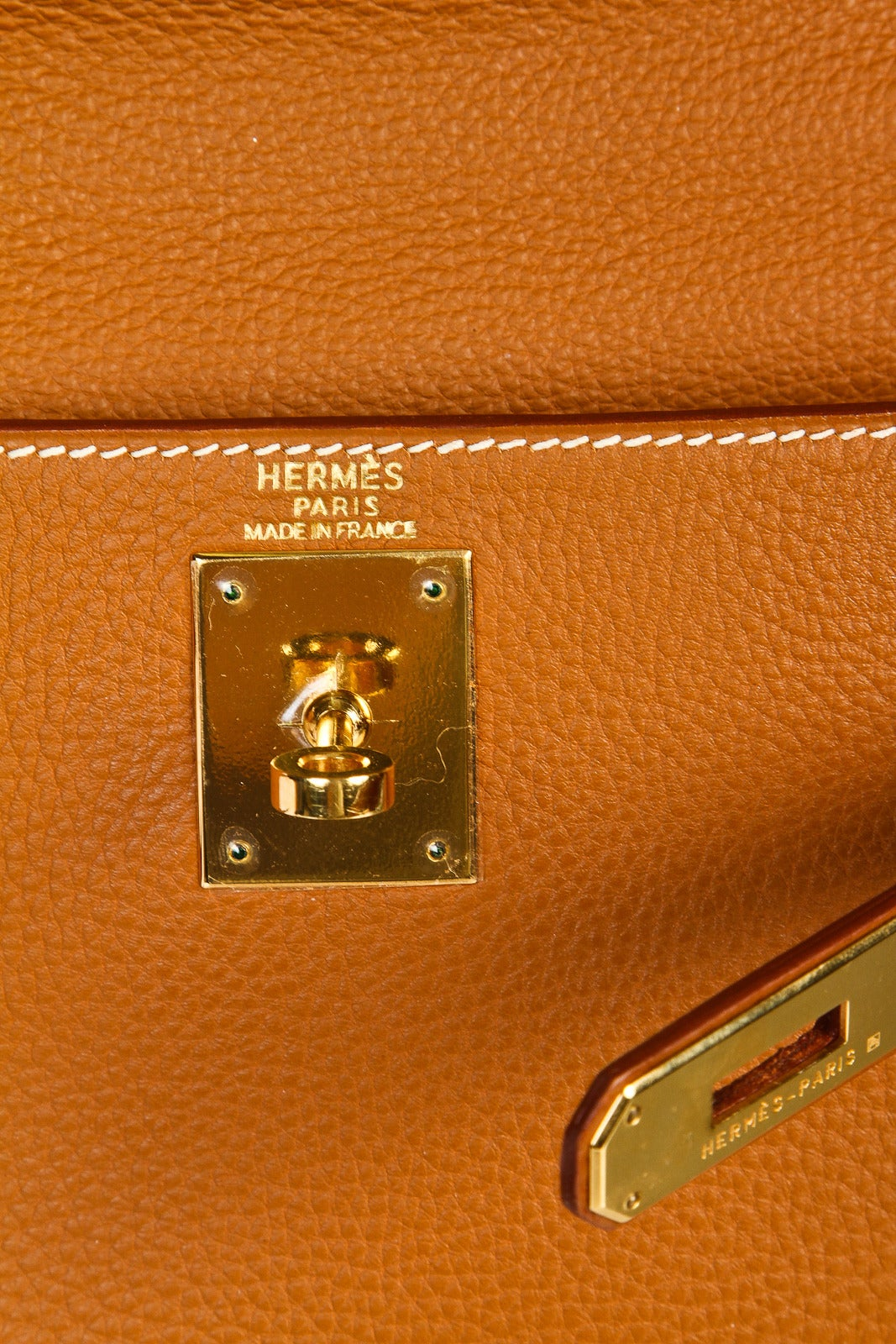 Hermes Gold Clemence Leather 28cm Kelly Retourne Handbag at 1stdibs