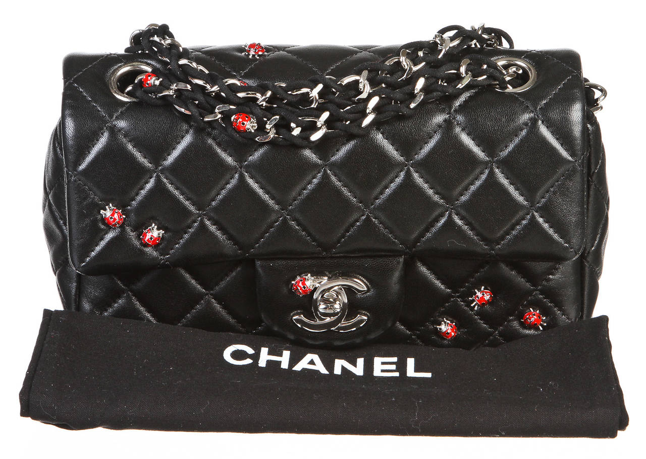 Chanel Black Quilted Lambskin Limited Edition Ladybug