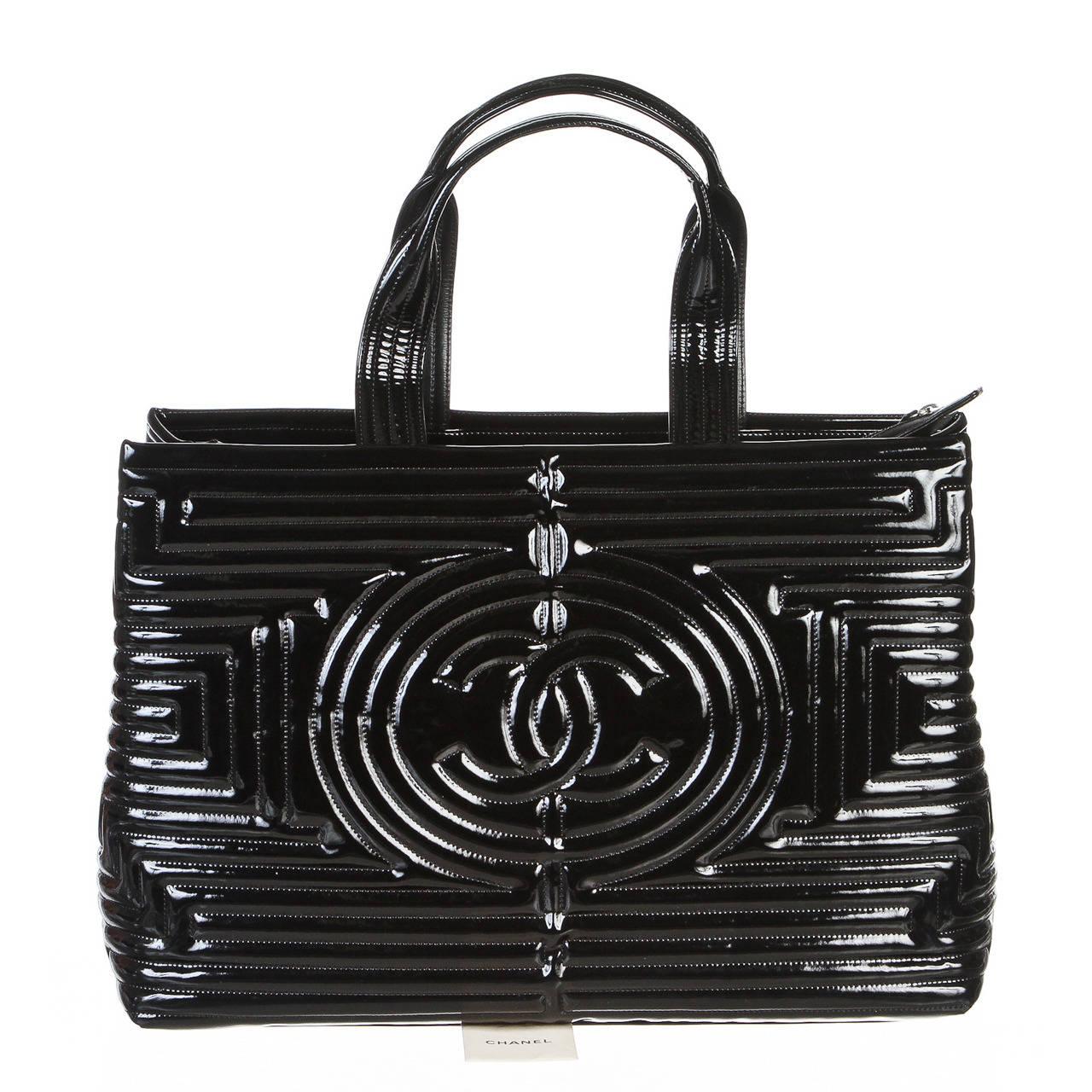 chanel black vinyl coco ming grand shopping tote handbag at 1stdibs. Black Bedroom Furniture Sets. Home Design Ideas