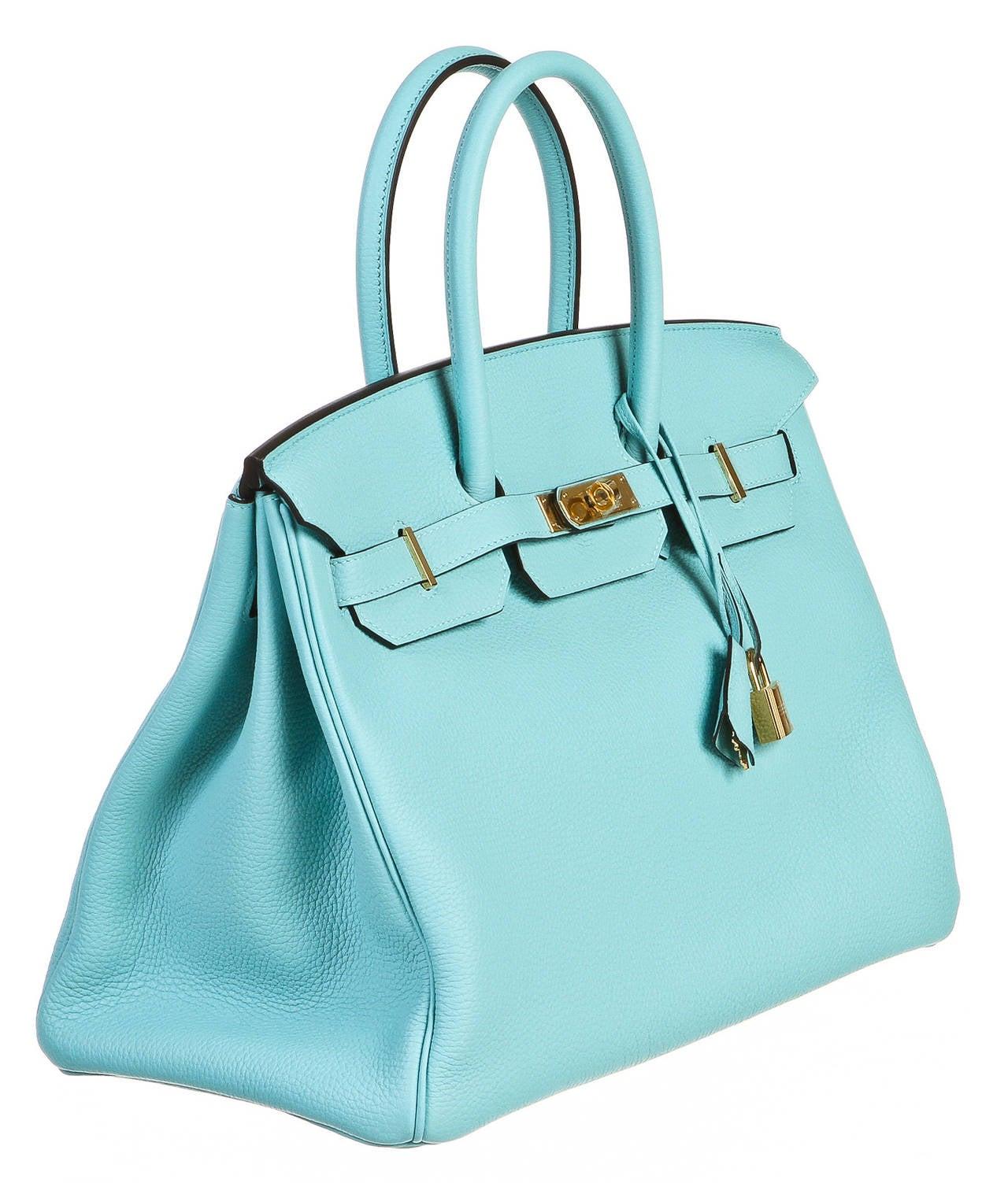 Hermes Blue Atoll 35cm Togo Leather Birkin Handbag GHW at 1stdibs
