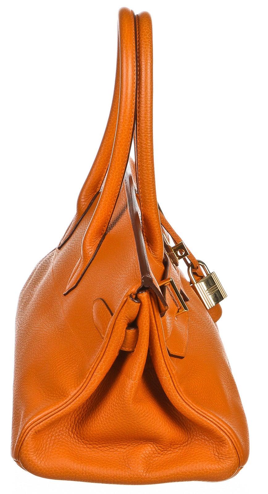 Hermes Orange JPG 42cm Birkin Clemence Leather Handbag at 1stdibs