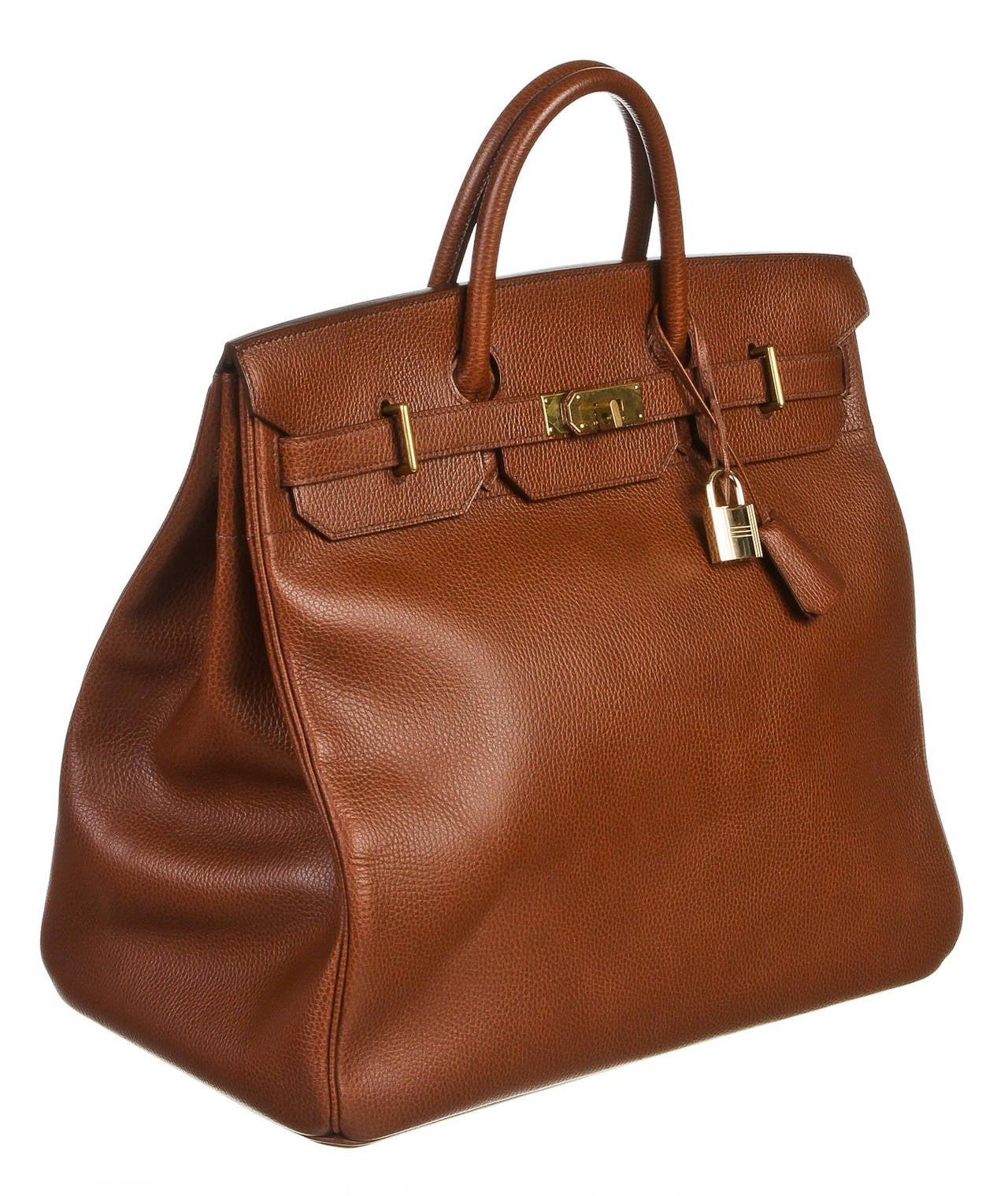 Hermes Brown Leather 45cm HAC Birkin Handbag at 1stdibs