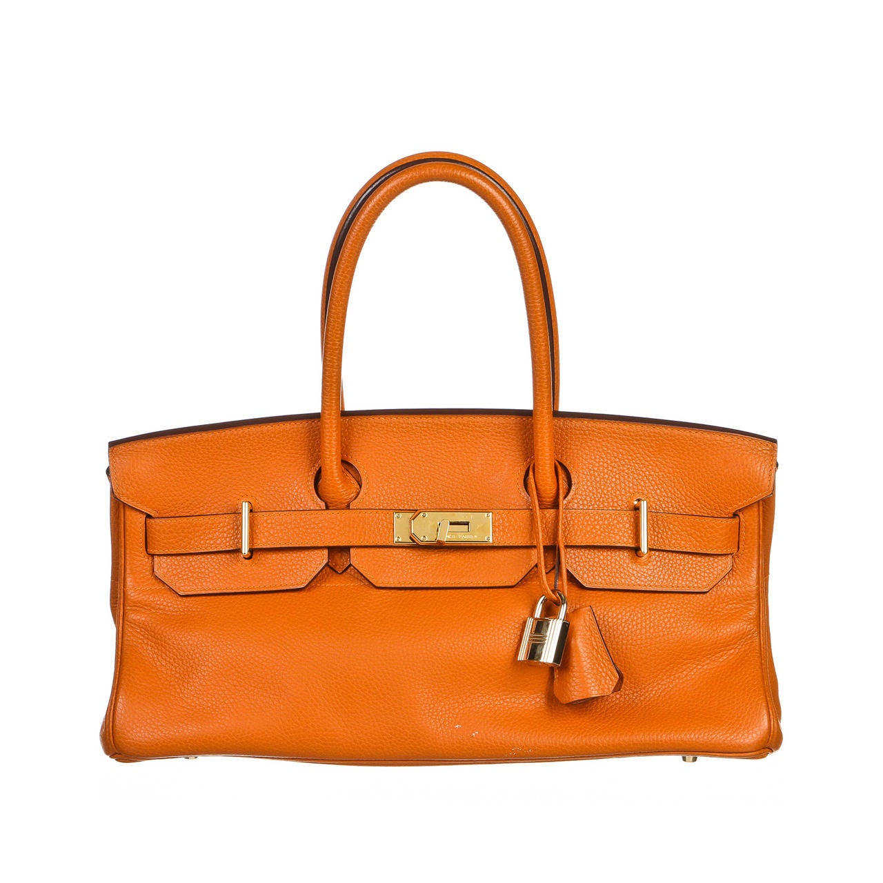 Hermes Orange JPG 42cm Birkin Clemence Leather Handbag at 1stdibs